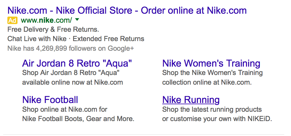 Examples of extended sitelink extensions being used by Nike
