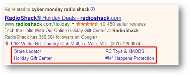 examples of sitelink extensions being used by radioshack