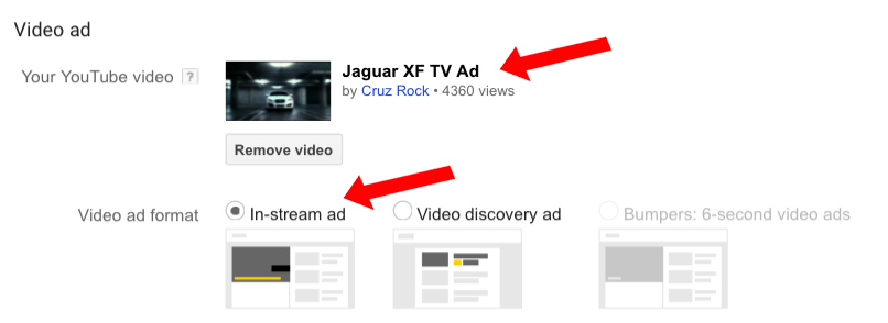Google adwords video ads the ultimate guide paste the url of your youtube video into the box provided and then select whether your advert will appear in stream or if it will appear within the search ccuart Choice Image