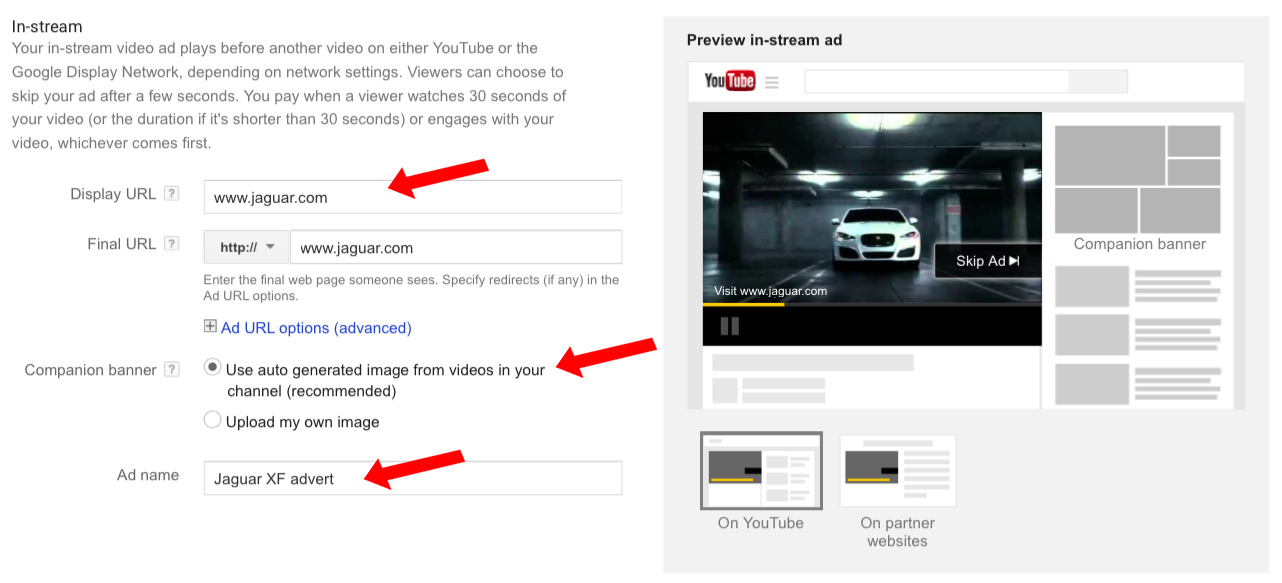 Google adwords video ads the ultimate guide step 2a enter the display url this is the url that people will see in the bottom left hand corner of your advert and a final url which is the web page ccuart Choice Image